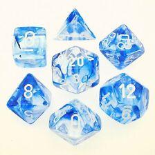 Set 7 dadi Chessex NEBULA BLUE white Dice BLU bianco Dadi Dado 27466