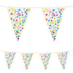 10m Plastic Bunting Confetti Birthday Party Decoration Garland Banner Pennant