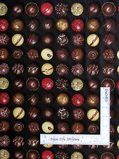 Chocolate Truffle Candy Black Cotton Fabric Timeless Treasures C7167 1.3 Yards