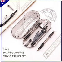 7 in 1 Drawing Compass Triangle Ruler Set School Maths Mating Tool Kit Rulers