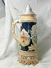Vintage Tall Musical Ceramic Lidded Stein Switzerland Lausanne St Pierre Ivolene