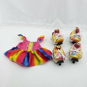 Build-a-Bear 4x Rainbow Tie Dye Sneakers with Skates + Rainbow Dress
