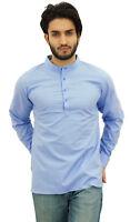 Atasi Ethnic Men's Blue Short Kurta Mandarin Collar Cotton Tunic Shirt