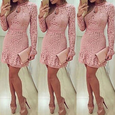 Women's Summer Lace Long Sleeve Party Evening Cocktail Short Mini Dress CL
