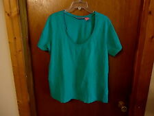 """Womens Woman Within Size  1 X 100% Cotton Green Top """" BEAUTIFUL TOP """""""