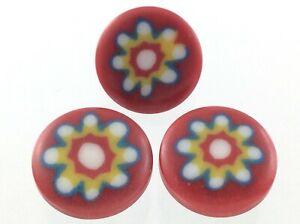 Vintage Red Flower Round Plastic Garment Button Size .45in Floral Design 820C