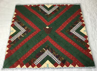 Patchwork Quilt Wall Hanging, Log Cabin, Calico Prints, Dark Green, Red, Blue