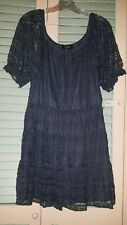 My Michelle Gray Lace Dress size L Short Sleeve Lined