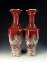 Pair of Chinese Antique Red Underglaze Porcelain Vase with Landscape Scene Deco