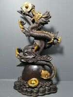 26CM Collect Chinese fengshui Decor copper Dragon statue supreme power/authority