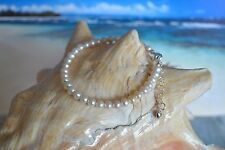 White Freshwater Pearl & .925 Sterling Silver 6 to 7 Inch Bracelet + Heart Charm