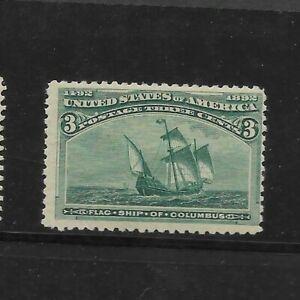 US Scott #232 mint never hinged 3c green 1893 Columbian Exposition Issue og f/vf