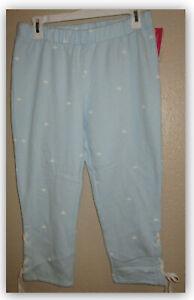 Xhilaration Woman's Sleep lounge fleece capri pants pajama soft blue w white bee