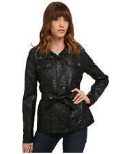 DOLLHOUSE Jacket Women's Faux Leather Belted Short Trench Coat M Black NWT