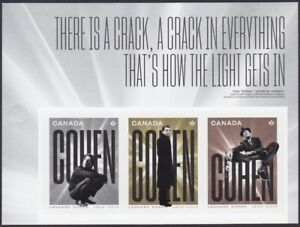 sq. LEONARD COHEN =Famous Singer= Booklet page of 3 diff stamps Canada 2019 MNH