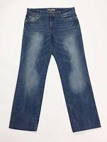 DND jeans uomo W32 tg 46 gamba dritta accorciati usati boyfriend blu T2044