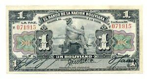 Bolivia Republic Banco de la Nacion Boliviana 1 Boliviano 1911 VF/XF Pick #102a