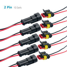 10 Sets 2 Pin Way 12V Electrical Wire Connector Plug Cable Waterproof Car ATV AU