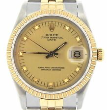 Rolex Date 15053 Men Stainless Steel 18K Yellow Gold Watch Jubilee Band Quickset