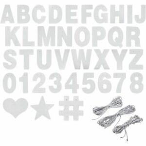 DIY Silver Glitter Banner Kit with Letters, Numbers, and Symbols (130 Pcs)