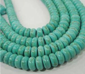"New 5x8mm Turkey Turquoise Rondelle Loose Beads Gemstone 15"" Strand"