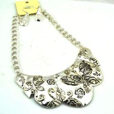 Silver Plated Flower Butterfly Choker Womens Fashion Neclace Earring Set