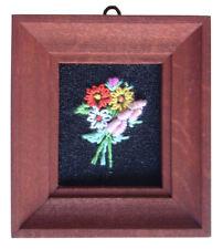 Casa De Muñecas Hecho a mano en miniatura de los años ochenta Bordado imagen oscuras marco Flor Mix 3
