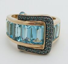Blue Diamond and Blue Topaz Belt Buckle Right Hand Ring 14K Yellow Gold Size 7