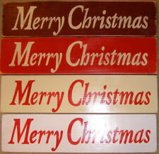 MERRY CHRISTMAS Primitive Rustic Wall Sign Plaque HP Happy Holidays U Pick Color