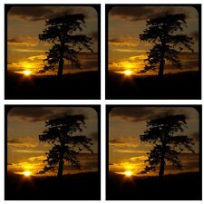 "Sunset 1 /4"" Thick Rubber Coaster Set of 4"