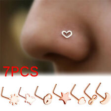 7PCS Surgical Steel Small Thin Love Star Screw Nose Stud Ring Piercing ZJHN