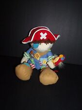 "Manhattan Toy Boy Pirate Activity Doll Rattle Plush Patchwork Parrot 14"""