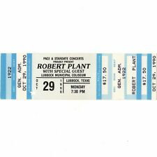 Robert Plant & Black Crowes Concert Ticket Stub Lubbock Tx 10/29/90 Led Zeppelin