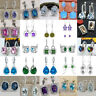 925 Sterling Silver Emerald Sapphire Hoop Drop Earrings Wedding Jewellery Gift