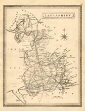 Antique county map of Lancashire by John Heywood. Railways & coach roads c1864