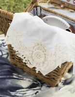 Victorian Trading Co. Embroidered Lace Cotton Napkins Set 4