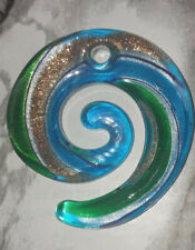 Blue & Green With Silver/Gold Stardust Round Lampwork Glass Pendant 49x46MM DIY