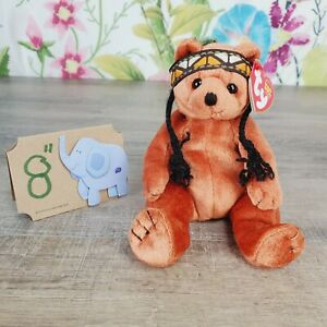 """Ty Beanie Babies Little Feather the Bear Plush 6"""" 2004 Retired Native American"""