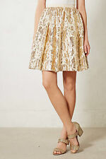 Floral Full Skirt High Waist Pleated Evening Party Gold By Isani Anthropologie 8