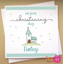 Personalised Christening, Baptism Card 'Church' Boy or Girl New Baby, Any Name