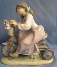 LLADRO TRAVELING IN STYLE #5680 - YOUNG GIRL ON TRIKE WITH PUPPIES - PERFECT