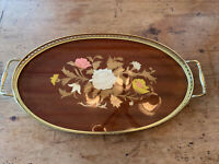Vintage Marquetry Inlaid Wood Serving Tray Brass Trim Handles Made In Italy