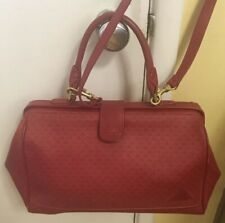 6ce6eb7a98 Vintage Liz Claiborne Red Canvas Leather Speedy Handbag Satchel Tote Purse  1984