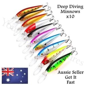 10 Deep Diving Minnow Fishing Lures Kingfish Mackerel Tuna Trevally Snook 11cm