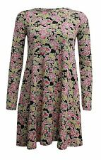 Women's Long Sleeves Printed Flared Swing Tunic Skater Ladies' Dress PLUS SIZE