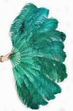 "Forest green 2 layers Ostrich Feather Fan  30""x 54"" with gift box Burlesque danc"
