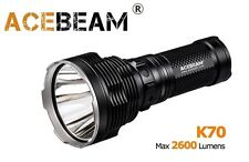 New AceBeam K70 Cree XHP35 HI 2600 Lumens LED Flashlight Torch ( 1300M ) - Black