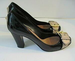 Giuseppe Zanotti Black Patent Leather Design Block Heels Front Buckle Size 41