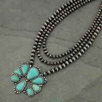 *NWT* Squash Blossom Naja Natural Turquoise Necklace-7318210085