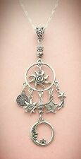 Blazing Sun and Man in the Moon Celestial Charm Necklace  FREE SHIPPING!